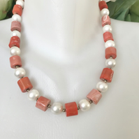 Salmon pink coral Necklace,Statement necklace, Vintage coral necklace