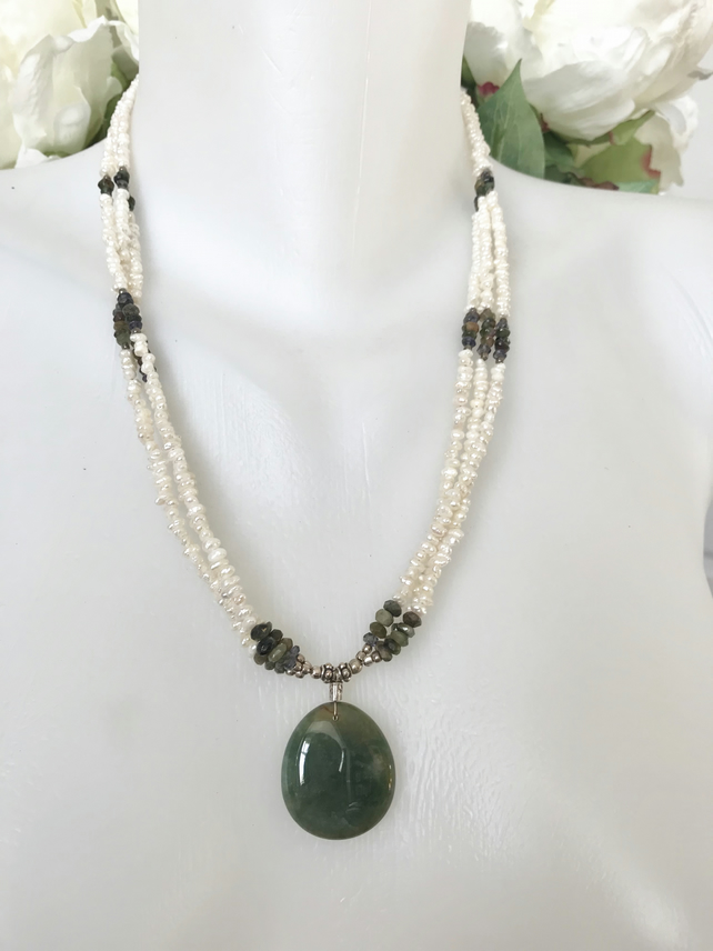 Jade pendant necklace, Emerald pearl necklace, Multi strand pearl necklace