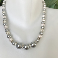 Statement pearl necklace, Grey and white shell pearl necklace,Bridal necklace