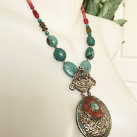 Pendant Necklace, Tibetan necklace, Statement necklace, Ethnic jewellery, beaded