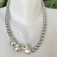 Baroque Pearl Necklace,  Shell pearl necklace, Pearl necklace, Gift for her