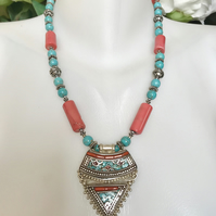 Tibetan pendant necklace,Pendant Necklace, Statement necklace, Ethnic jewellery