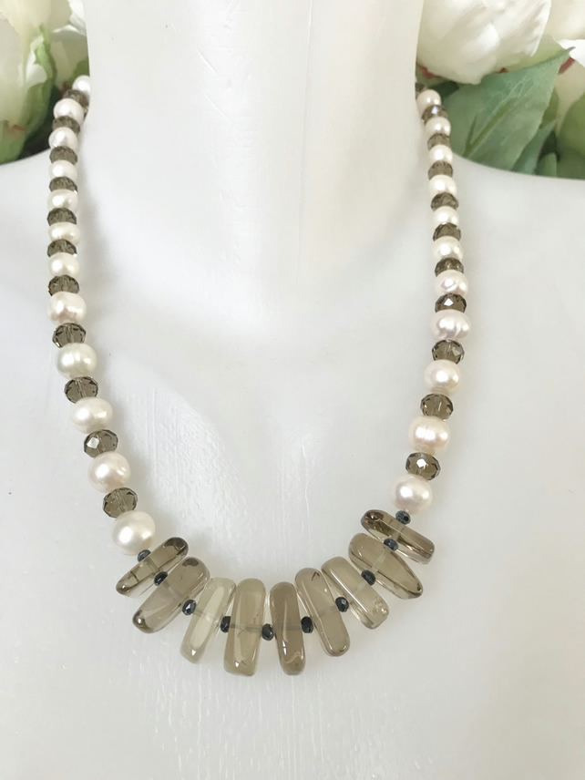 Smoky quartz necklace, Pearl necklace , Statement necklace