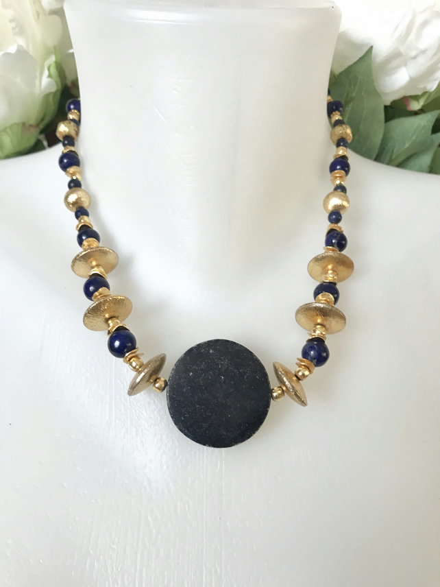 Coin Lapis Necklace,Statement necklace,Lapis necklace, Gold fill necklace