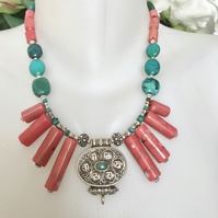 Statement necklace,Pendant necklace ,Tibetan necklace,Coral Necklace