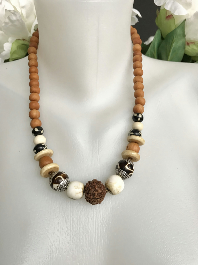 Mixed beads necklace, Ethnic vintage beads necklace, Tibetan beads necklace,