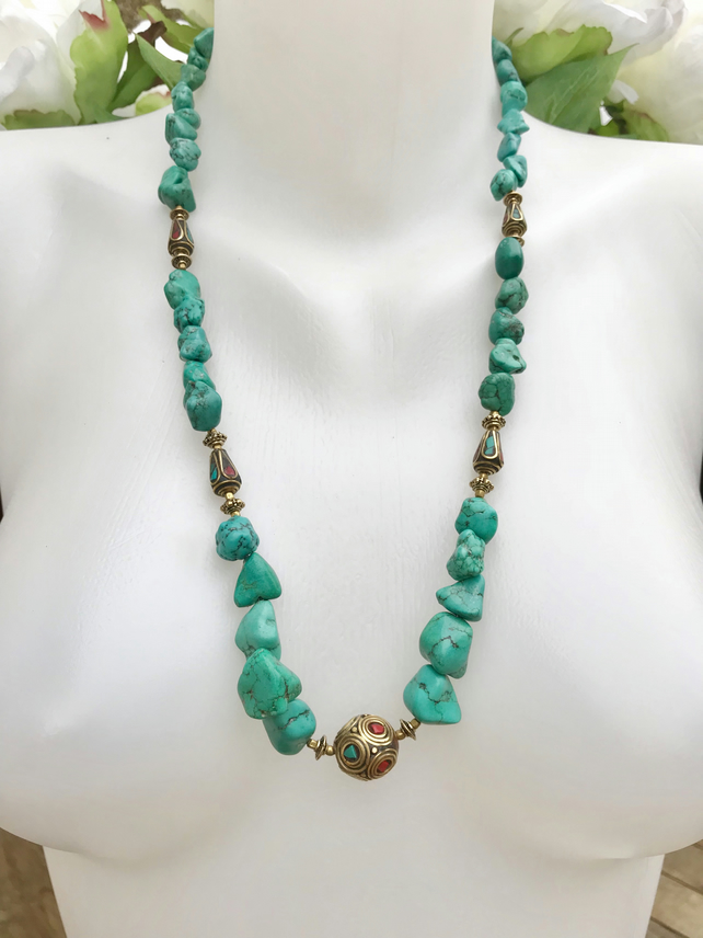 Turquoise nuggets necklace,  Gemstone necklace, Long turquoise 27 inch necklace