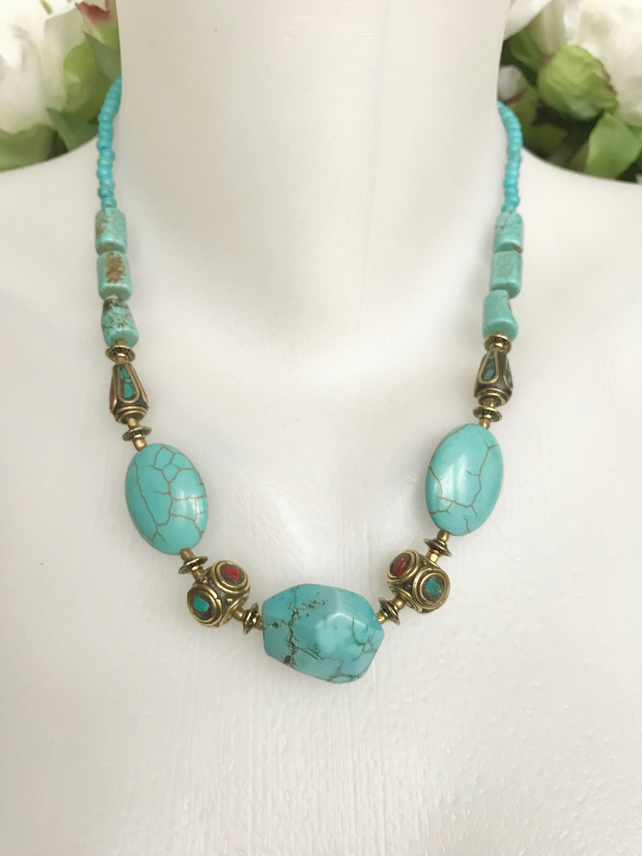 Turquoise Necklace, Blue necklace, Gemstone necklace, Oval turquoise beads