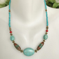 Turquoise  Necklace,   Brass  Necklace, Tibetan Necklace, Beaded necklace