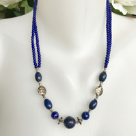 Lapis Lazuli Necklace,  Tibetan Lapis Necklace, Sterling silver lapis necklace