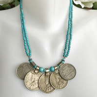 Turquoise necklace, Old coin necklace, Semi precious necklace, Coin pendants