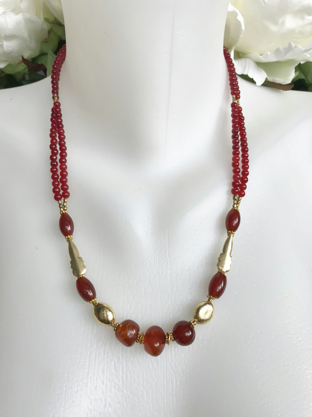 Carnelian Necklace,  Gold filled necklace,  Gemstone necklace,Beaded necklace