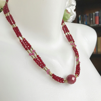 Ruby necklace,  Statement necklace, Red necklace, Layered necklace