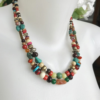 Mix beads neckless, Tibetan necklace, Himalayan beads necklace, Layered necklace