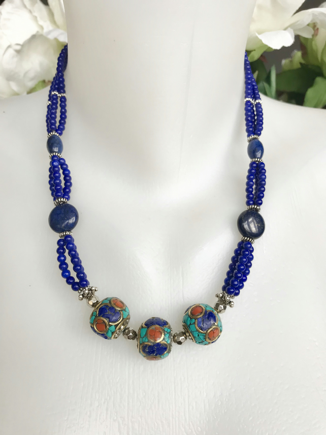 Lapis Necklace , Coin Lapis Necklace, Layered lapis necklace, Ethnic necklace