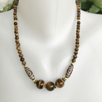 Tiger's eye necklace, Ethnic necklace,Statement necklace, Gemstone necklace