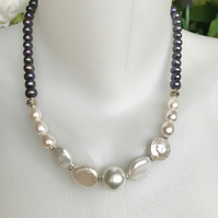 Coin pearl necklace, Black Pearl necklace, Statement necklace, Peacock pearl