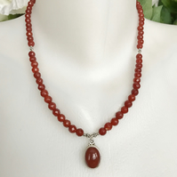 Carnelian Necklace, Silver pendant necklace,  Gemstone necklace, Faceted beads