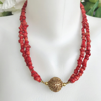 Coral necklace, Tibetan necklace, Red Necklace, Ethnic necklace, Gilded necklace