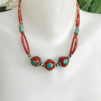Brass mix beads Neckless,,Red necklace,Turquoise necklace,Coral necklace,Layered