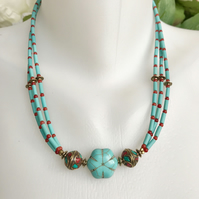 Turquoise  Necklace,  Layered Necklace,  Tibetan Necklace,  Statement Necklace