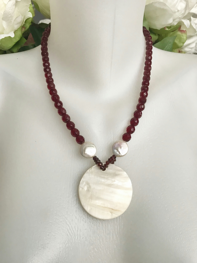 Mother of pearl necklace, Statement necklace,Red Necklace, Garnet necklace,