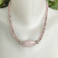 Rose Quartz  Necklace, Pink necklace, Sparkly necklace, Faceted necklace,