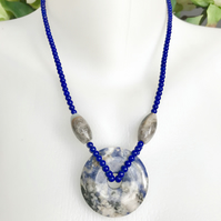 Lapis Necklace, Lapis Doughnut Necklace, Agate Lapis necklace, Blue necklace,