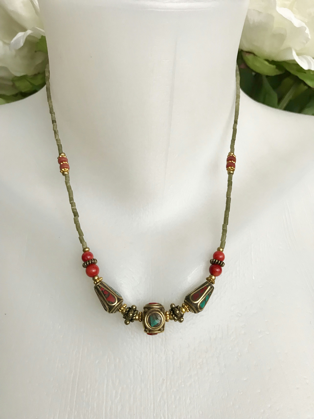 Brass Necklace, Tibetan necklace, Ethnic necklace, Beaded necklace,