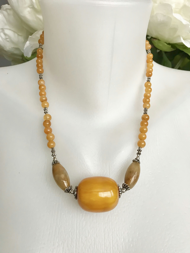 Jade Necklace, Agate necklace,Tibetan jewellery,Ethnic necklace, Yellow jade