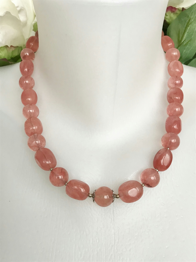 Pink gemstone necklace, Chunky pink tourmaline necklace, Chunky beads, Gemstone