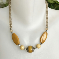 Agate necklace, Yellow agate necklace,Beaded necklace