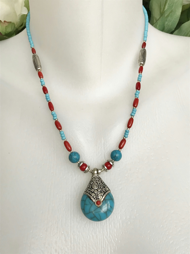 Coral necklace, Tibetan necklace, Pendant Necklace, Ethnic necklace