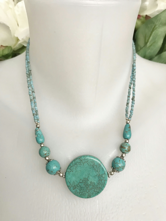 Statement necklace, Coin Turquoise Necklace, Blue necklace,Ethnic Jewellery