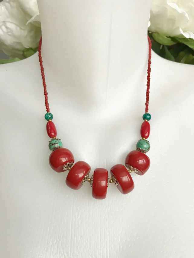 Tibetan necklace,Ethnic Jewellery,Ethnic necklace, Red necklace, Beaded necklace