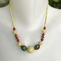 Jade necklace, Gemstone necklace, Mix beads necklace, Brass Necklace