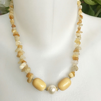 Agate necklace, Yellow agate necklace,Beaded necklace, Gemstone necklace,