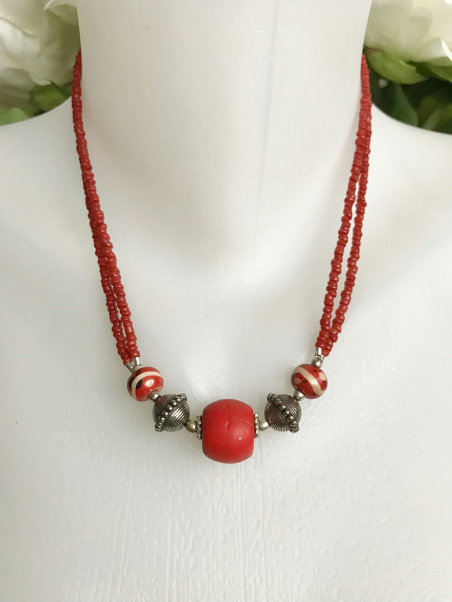Red necklace,Ceramic necklace, Tibetan Necklace, Ethnic necklace