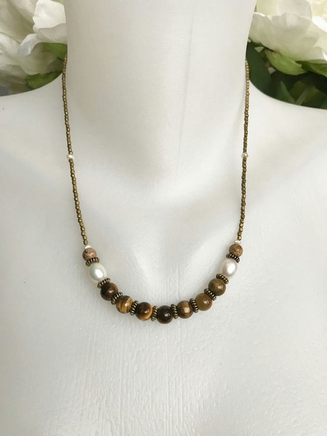 Tiger's eye necklace, Brass necklace, Beaded necklace, Gemstone necklace