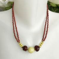 Jade carnelian necklace, Carnelian necklace, Beaded necklace, Gift for mum