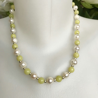 Jade pearl necklace, Freshwater pearl necklace, Jade necklace,