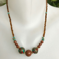 Sand stone necklace, Brass beads necklace, Mixed beads necklace, Beaded necklace