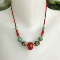 Tibetan necklace, Ethnic Jewellery,  Beaded necklace, Red necklace