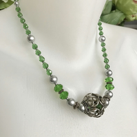 Faceted glass beads necklace, Grey shell pearl necklace, Sparkly green necklace