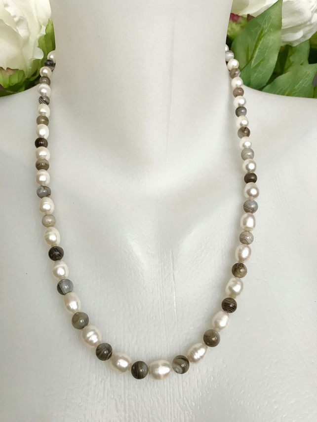 Fresh water pearl necklace, Grey jasper pearl necklace, Ringed pearl necklace