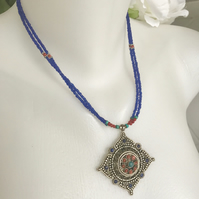 Pendant necklace, Tibetan necklace, Ethnic Necklace, Gift for her, Gift for mum