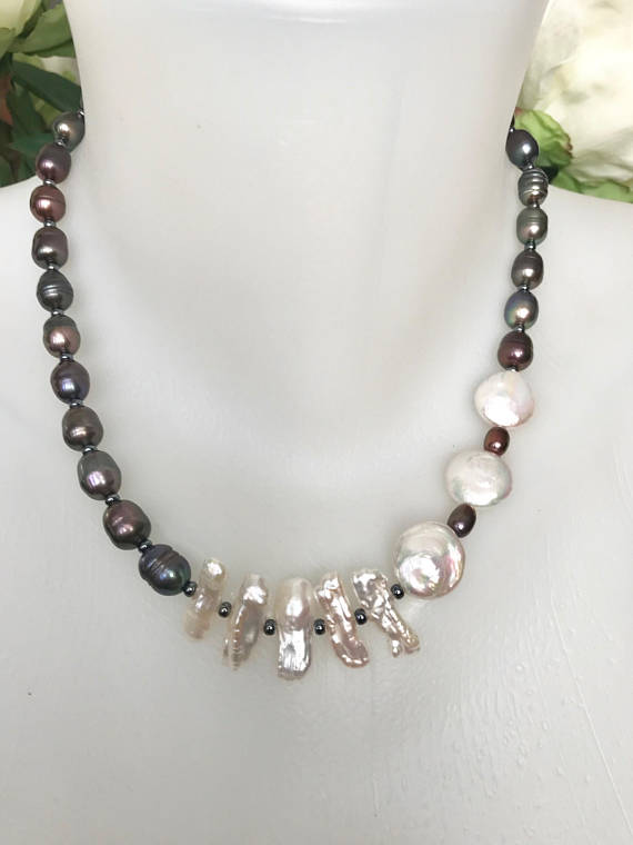 Pearl necklace,Black pearl necklace,Mother of pearl necklace,Coin pearl necklace