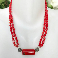 Red necklace,Coral Necklace, Beaded necklace, Semi-prcious necklace