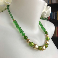 Gemstone necklace,Sparkly necklace, Green gold necklace,Faceted necklace,