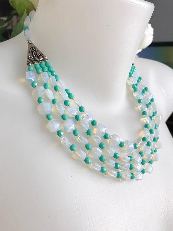 Layered necklace Multi strand Neckless, Statement necklace, Opal necklace
